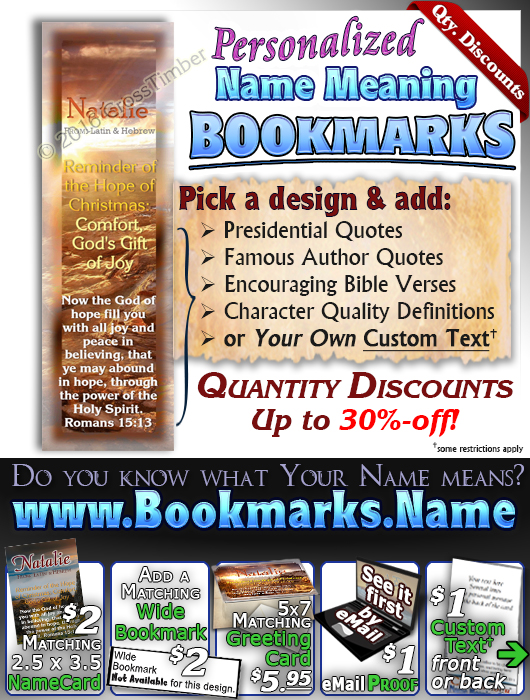 BM-SC22, Name Meaning Bookmark, Personalized with Bible Verse or Famous Quote,, personalized, western natalie, sunset