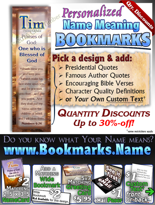 BM-SC23, Name Meaning Bookmark, Personalized with Bible Verse or Famous Quote,, personalized, tim, western, sunset