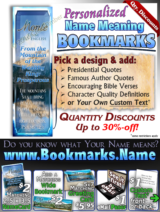 BM-SC26, Name Meaning Bookmark, Personalized with Bible Verse or Famous Quote,, personalized, monte, mountain, lake