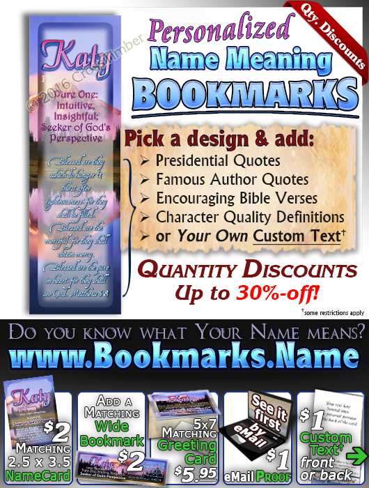 BM-SC28, Name Meaning Bookmark, Personalized with Bible Verse or Famous Quote,, personalized, katy mountain lake pink, scenery
