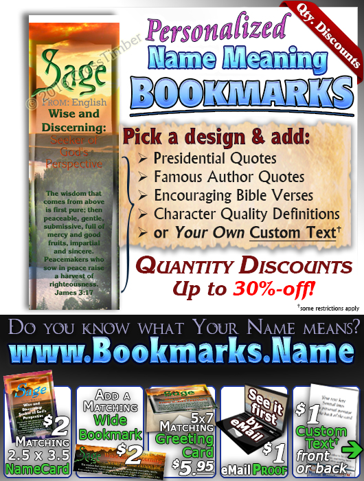 BM-SC30, Name Meaning Bookmark, Personalized with Bible Verse or Famous Quote,