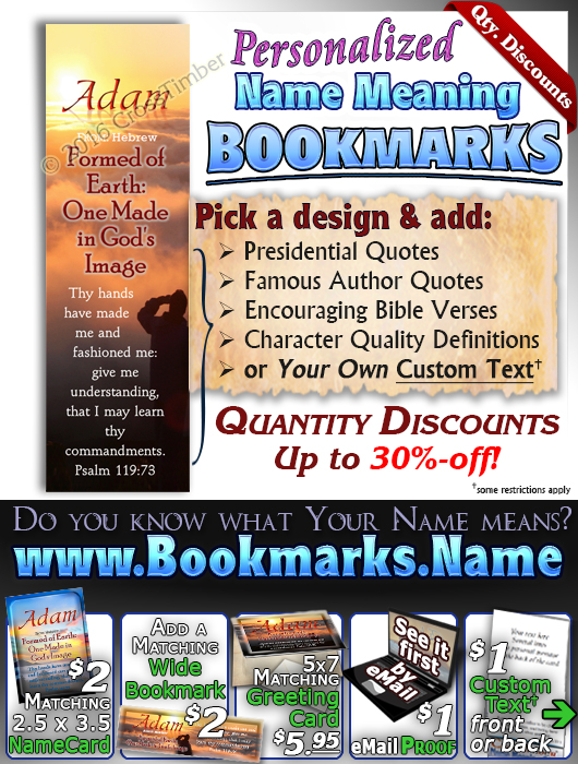BM-SC32, Name Meaning Bookmark, Personalized with Bible Verse or Famous Quote,, personalized, adam, man clouds sunset