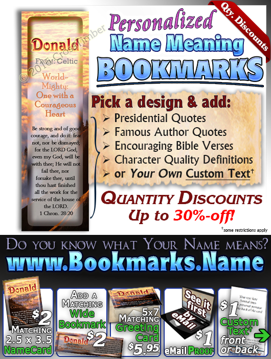 BM-SC33, Name Meaning Bookmark, Personalized with Bible Verse or Famous Quote,, personalized, donald clouds sunset