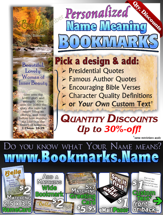 BM-SC39, Name Meaning Bookmark, Personalized with Bible Verse or Famous Quote,
