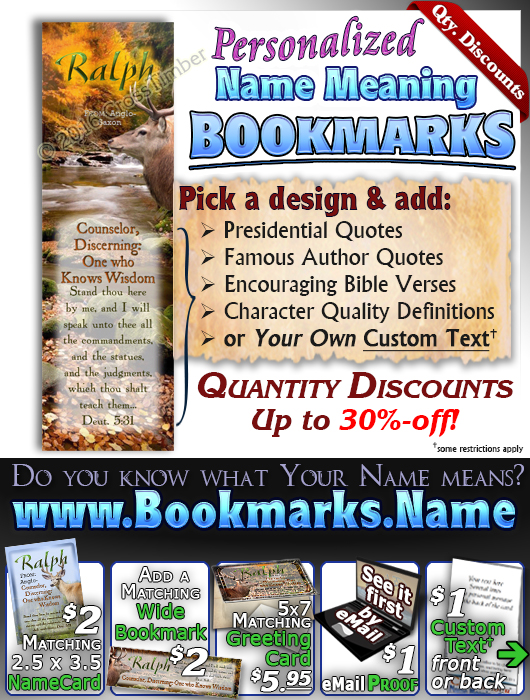 BM-SC46, Name Meaning Bookmark, Personalized with Bible Verse or Famous Quote, personalized, buck deer elk hunt hunter ralph