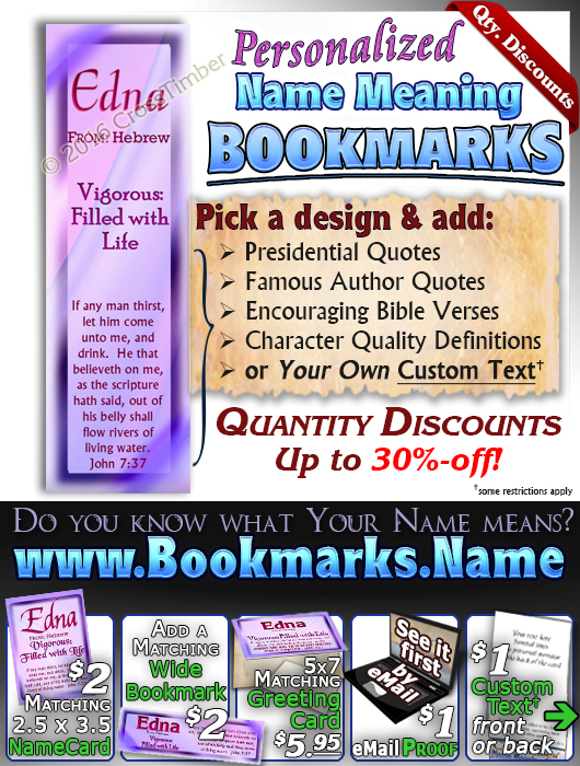 BM-SM06, Name Meaning Bookmark, Personalized with Bible Verse or Famous Quote,, personalized, baby name purple pink edna simple basic