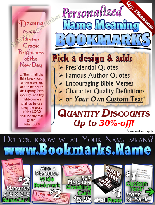 BM-SM07, Name Meaning Bookmark, Personalized with Bible Verse or Famous Quote,, personalized, baby name purple pink Deanna simple basic
