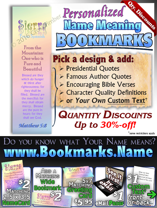 BM-SM11, Name Meaning Bookmark, Personalized with Bible Verse or Famous Quote,, personalized, baby name, rainbow, sierra, pastel
