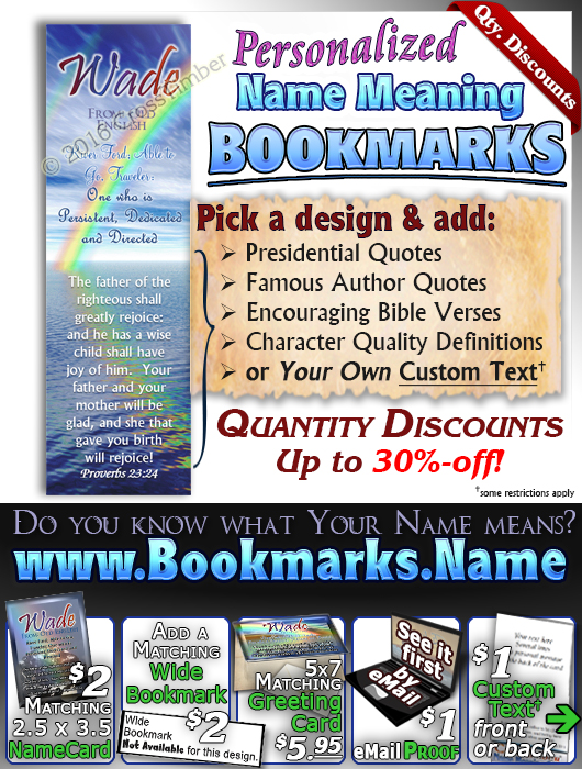 BM-SM15, Name Meaning Bookmark, Personalized with Bible Verse or Famous Quote,, personalized, baby name, rainbow, wade