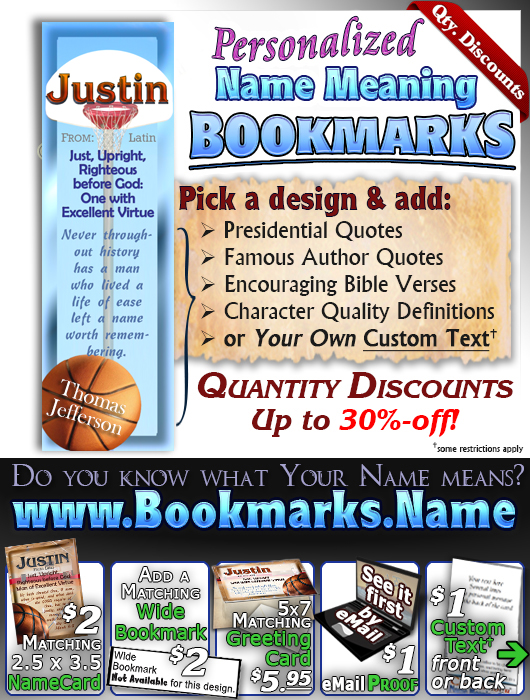 BM-SP04, Name Meaning Bookmark, Personalized with Bible Verse or Famous Quote,