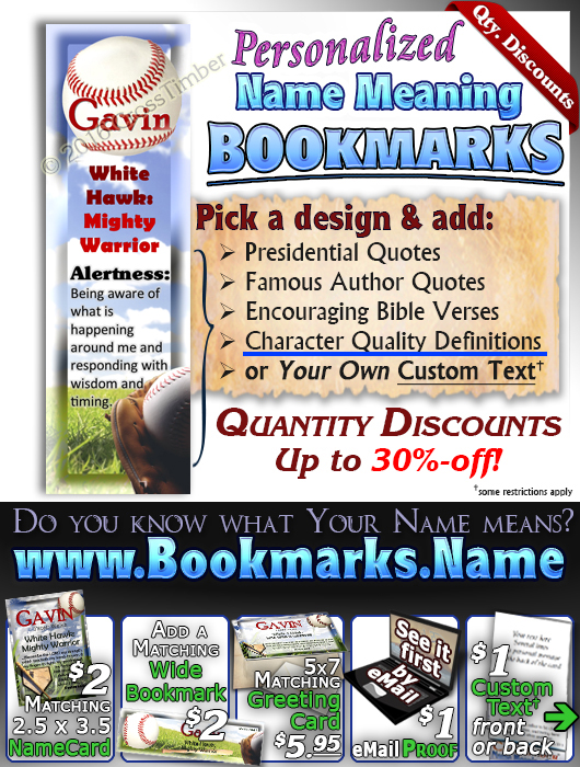 BM-SP07, Name Meaning Bookmark, Personalized with Bible Verse or Famous Quote,