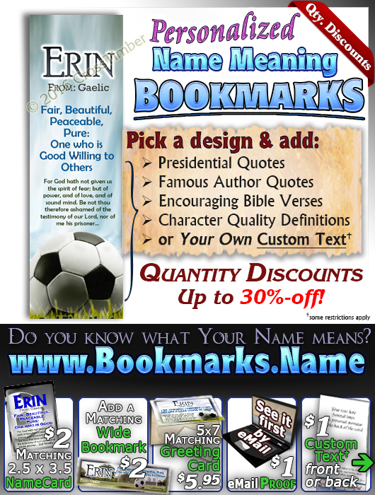 BM-SP08, Name Meaning Bookmark, Personalized with Bible Verse or Famous Quote,