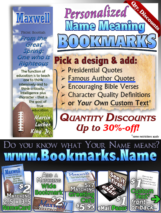 BM-SP11, Name Meaning Bookmark, Personalized with Bible Verse or Famous Quote,