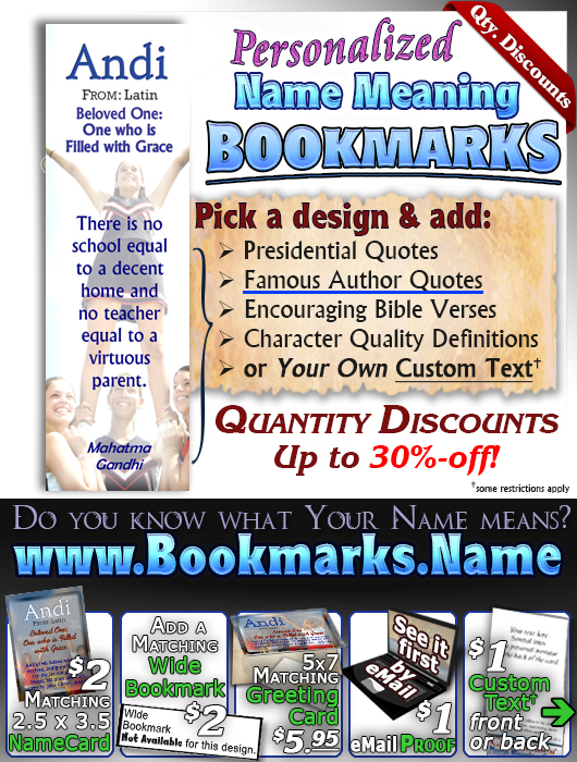 BM-SP16, Name Meaning Bookmark, Personalized with Bible Verse or Famous Quote,