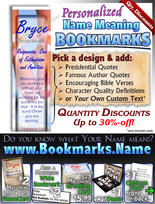 BM-SP19, Name Meaning Bookmark, Personalized with Bible Verse or Famous Quote,