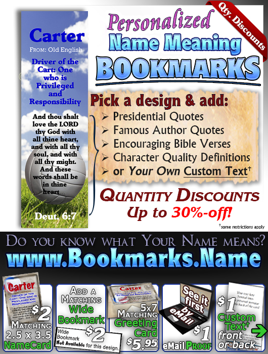 BM-SP20, Name Meaning Bookmark, Personalized with Bible Verse or Famous Quote,