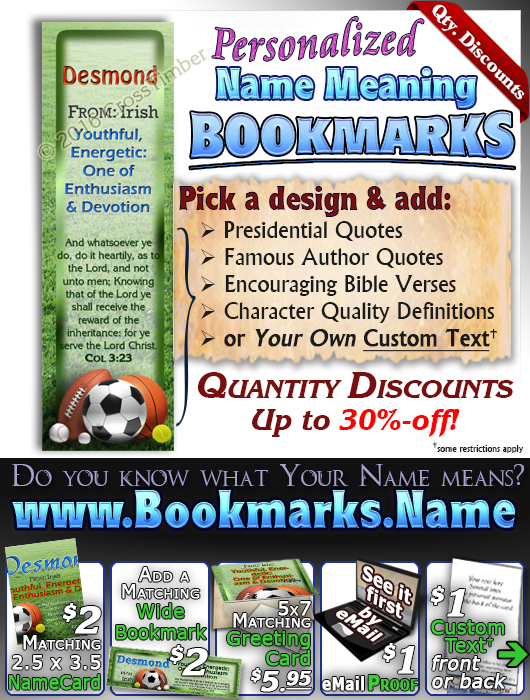 BM-SP21, Name Meaning Bookmark, Personalized with Bible Verse or Famous Quote,