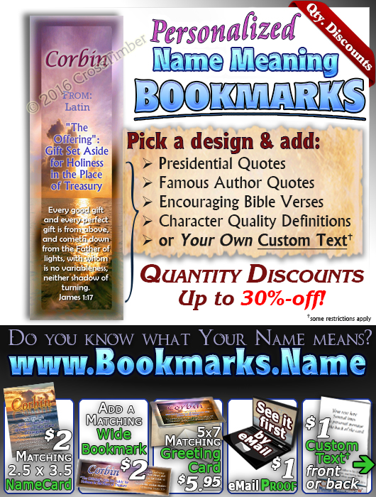 BM-SS02, Name Meaning Bookmark, Personalized with Bible Verse or Famous Quote,, personalized, sunset purple, corbin