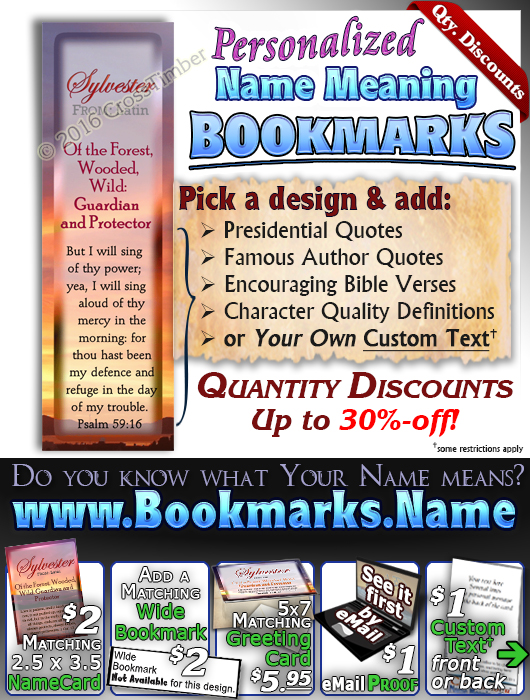 BM-SS03, Name Meaning Bookmark, Personalized with Bible Verse or Famous Quote,, personalized, sunset, sylvester, simple