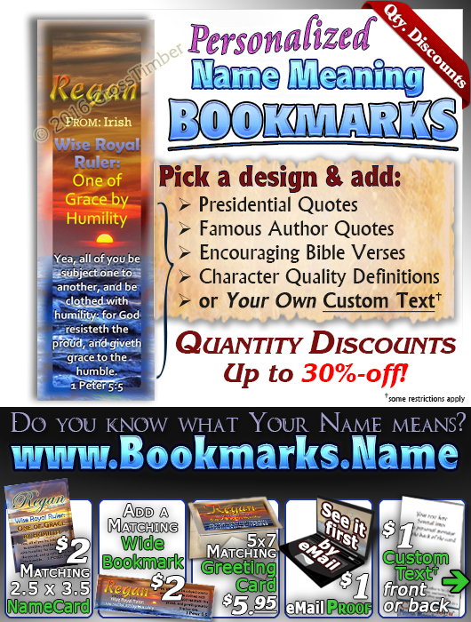 BM-SS06, Name Meaning Bookmark,   Personalized with Bible Verse or Famous Quote, personalized, sunset sky sun regan