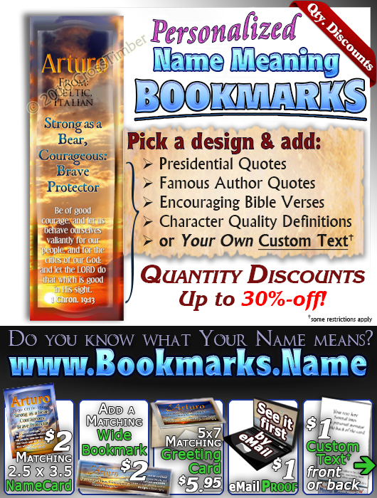 BM-SS07, Name Meaning Bookmark, Personalized with Bible Verse or Famous Quote,, personalized, arturo sunset sky