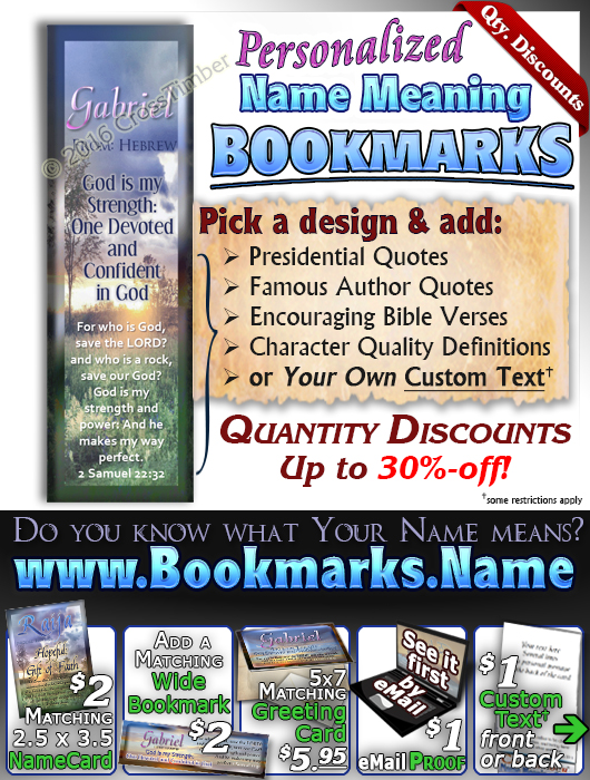 BM-SS09, Name Meaning Bookmark, Personalized with Bible Verse or Famous Quote,, personalized, gabriel sunset