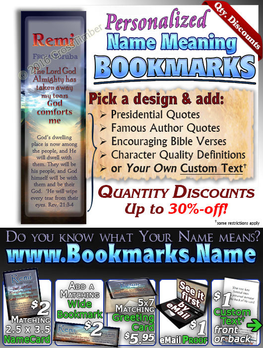 BM-SS10, Name Meaning Bookmark, Personalized with Bible Verse or Famous Quote,, personalized, remi night sunset