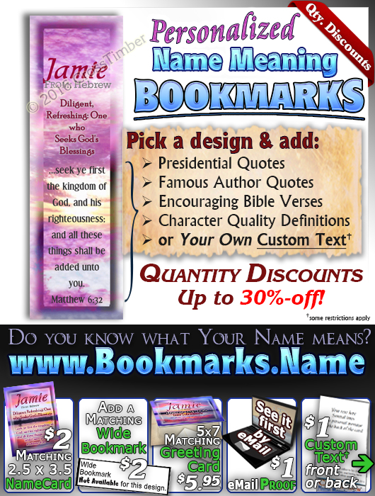 BM-SS17, Name Meaning Bookmark, Personalized with Bible Verse or Famous Quote,