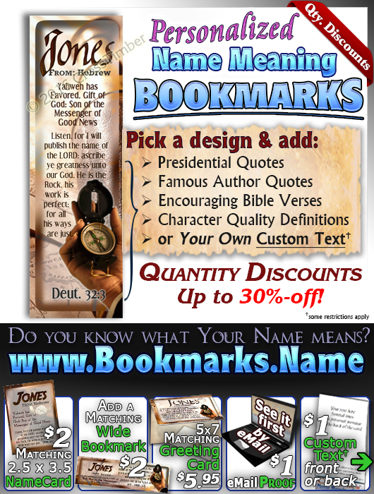 BM-SY01, Name Meaning Bookmark, Personalized with Bible Verse or Famous Quote,, personalized, jones compass telescope adventure