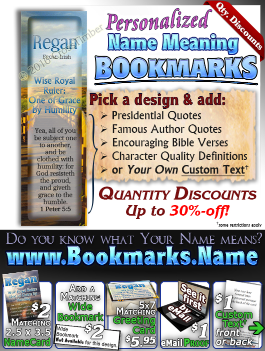 BM-SY07, Name Meaning Bookmark, Personalized with Bible Verse or Famous Quote,, personalized, regan path
