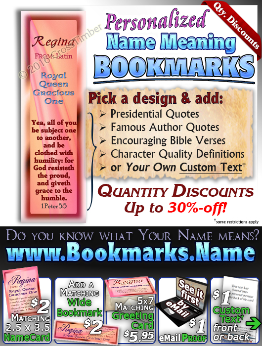 BM-SY08, Name Meaning Bookmark, Personalized with Bible Verse or Famous Quote,, personalized, pink, regina