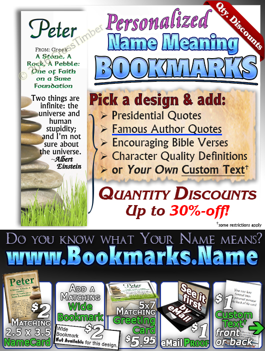 BM-SY14, Name Meaning Bookmark, Personalized with Bible Verse or Famous Quote,, personalized, peter stones stacked rocks,
