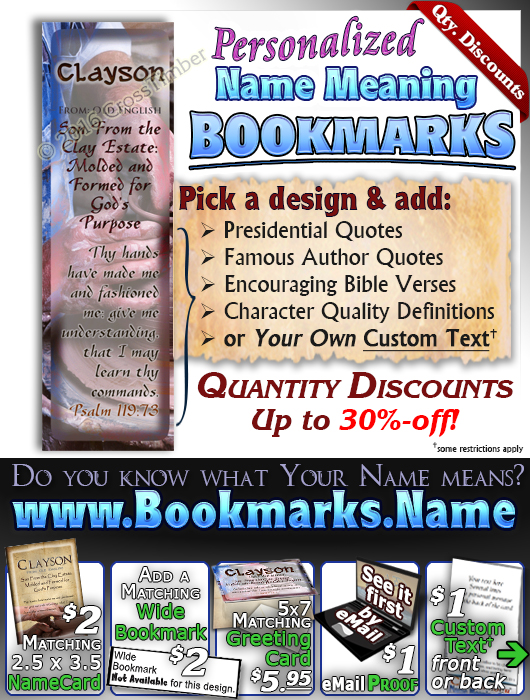 BM-SY17, Name Meaning Bookmark, Personalized with Bible Verse or Famous Quote,, personalized, clayson potter pottery clay