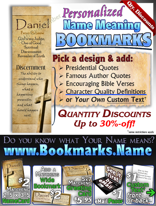 BM-SY42, Name Meaning Bookmark, Personalized with Bible Verse or Famous Quote,, personalized, old rugged cross parchment Daniel Jesus Yeshua