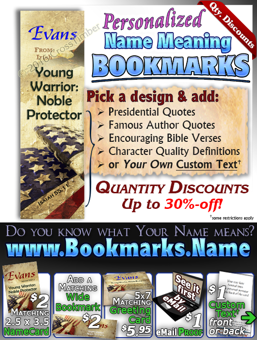 BM-SY57, Name Meaning Bookmark, Personalized with Bible Verse or Famous Quote, personalized, evans flag military soldier camo digi USA American