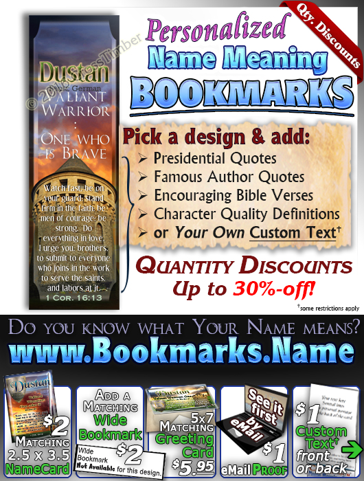 BM-SY63, Name Meaning Bookmark, Personalized with Bible Verse or Famous Quote, personalized,dustan shield sword castle knight courage