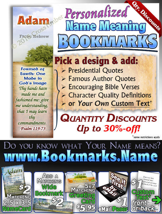 BM-TR10, Name Meaning Bookmark, Personalized with Bible Verse or Famous Quote,, personalized, Adam tree green
