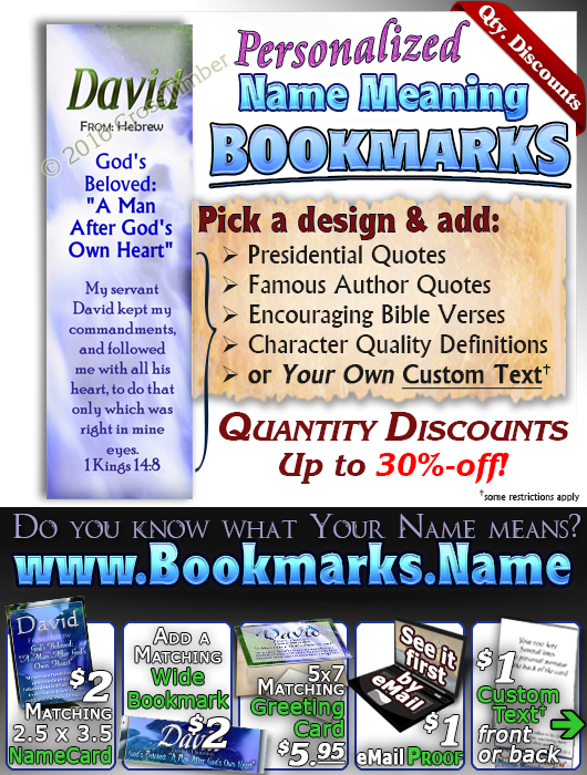 BM-WA02, Name Meaning Bookmark, Personalized with Bible Verse or Famous Quote,, personalized, still waters waterfall, David