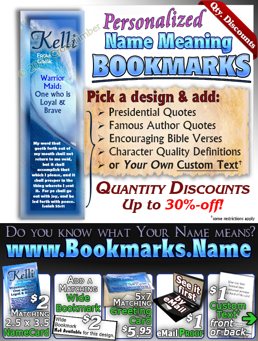 BM-WA03, Name Meaning Bookmark, Personalized with Bible Verse or Famous Quote,, personalized, ocean wave tidal kelli