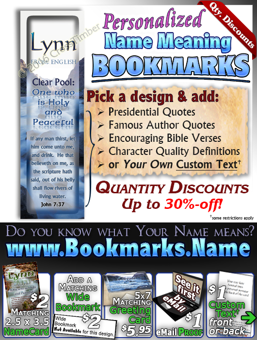 BM-WA04, Name Meaning Bookmark, Personalized with Bible Verse or Famous Quote,, personalized, lynn soft water stream river water