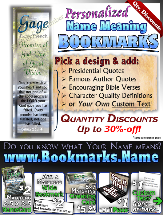 BM-WA11, Name Meaning Bookmark, Personalized with Bible Verse or Famous Quote,, personalized,gage forest stream river light