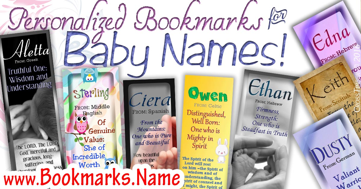 Adorable personalized bookmarks for baby names and name meanings!