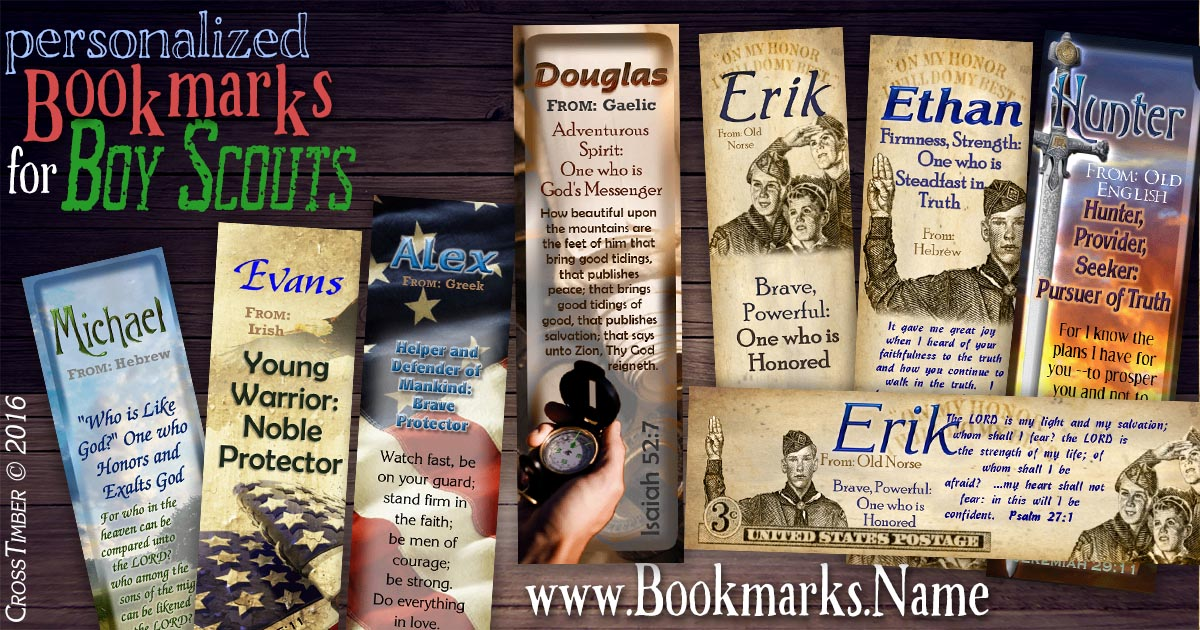 Custom-made bookmarks with name meanings and boy scouts and stamp designs