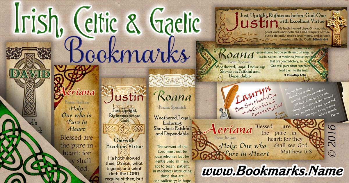 Name meaning bookmarks with Celtic, Irish and Gaelic backgrounds