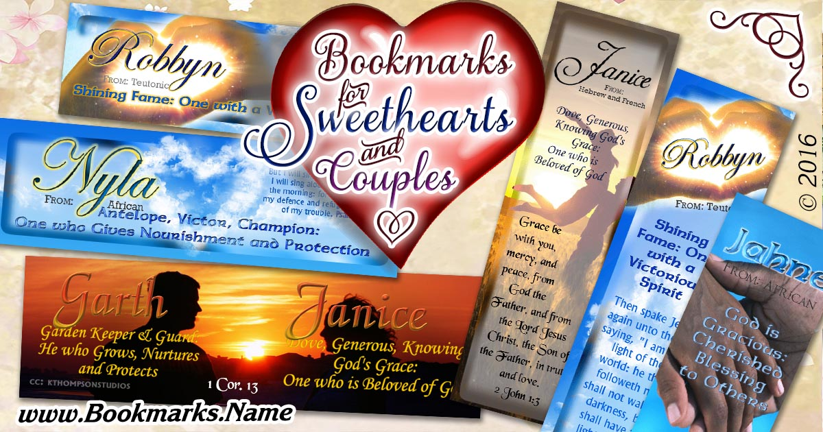 Personalized bookmarks for sweethearts, couples, valentines's day