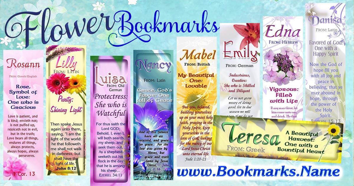Beautiful name meaning bookmarks with flowers and flower gardens in the background
