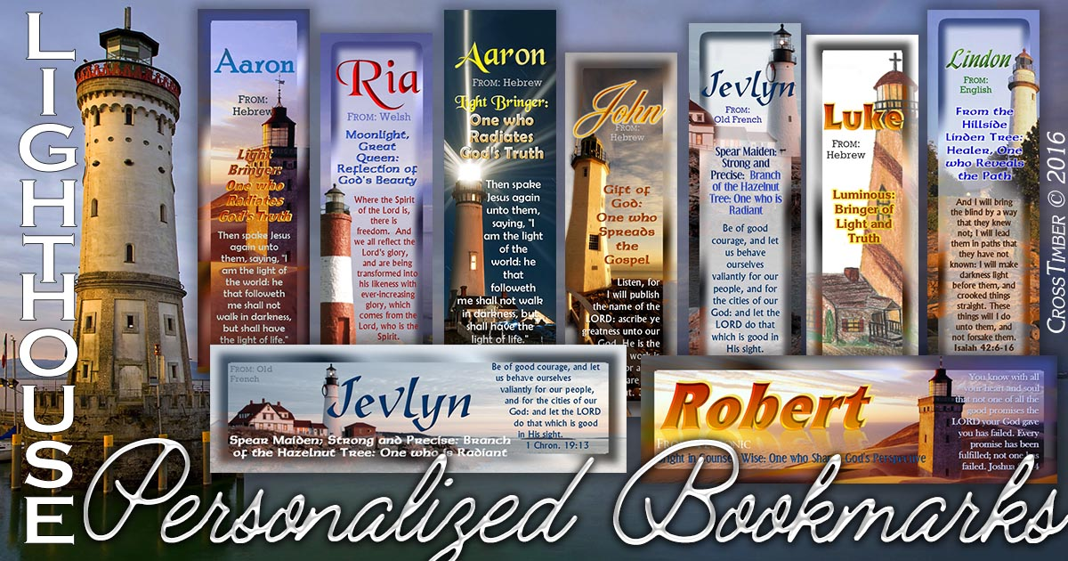 Personalized name meaning bookmarks with lighthouse pictures
