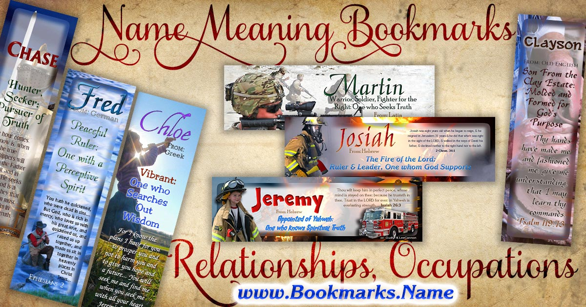 Wallet-sized name meaning bookmarks with backgrounds of people and relationships
