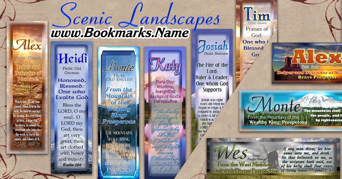 Christian name meanings printed on pocket-sized bookmarks with scenic landscapes, mountains and sunsets