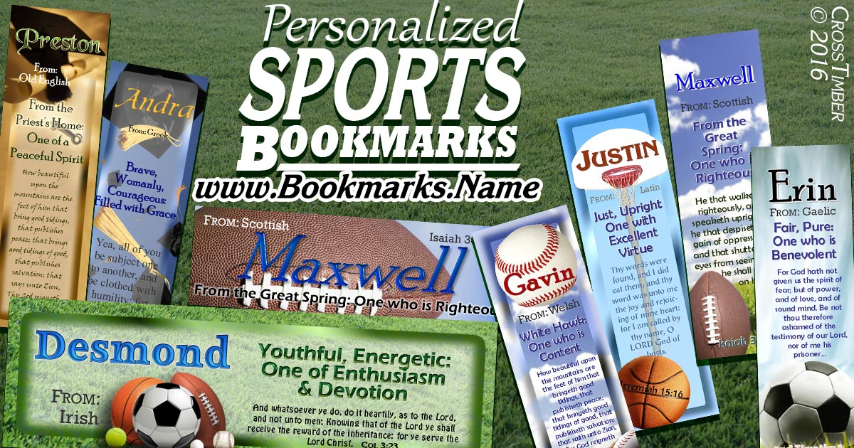 Personalized Sports-themed bookmarks with name meaning and Inspirational Quote